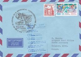 Lufthansa Luftpost: Noch 75 Tage Calgary Winter Olympics Frankfurt - Calgary 1988 (T6-9)