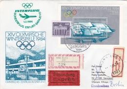Special Post With Interflug To Sarajevo 1984 Winter Olympic Games From Erfurt  (T6-9) - Winter 1984: Sarajevo