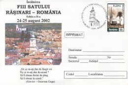 SONS OF THE VILLAGE, RASINARI PANORAMA, CHURCH, SPECIAL COVER, 2002, ROMANIA