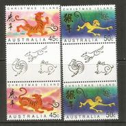 Année Du Tigre & Année Du Singe .  2 Paires T-p Se-tenant Neufs **.avec Vignette Centrale - Christmas Island