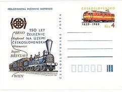 Czechoslovakia 1989 150th Anniversary Of Railways - Old And Modern Locomotive - Cartes Postales