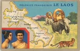 A-17-1178 :   LAOS  COLONIE FRANCAISE CARTE GEOGRAPHIQUE DU LION NOIR - Laos