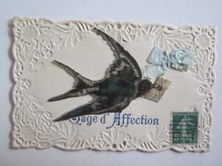 Fantaisies Fantaisie Carte Gaufrée Carte Découpée Collage Oiseau Gage D'affection - Non Classés