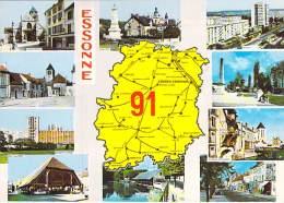 91 - Département De L'ESSONNE ( Lot De 2 ) Multivues Avec Carte Géographique - CPSM Dentelée GF (lot 2/2) - Essonne - France