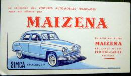 2 BUVARDS  ANCIENS  AUTOMOBILE  SIMCA 4 PLACES  FARINE MAIZENA  DEUX EXEMPLAIRES - Automobile