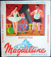 BUVARD  ANCIEN CIRQUE SPECTACLE CLOWN ET BALLERINE  BISCOTTES MAGDELEINE - Biscottes