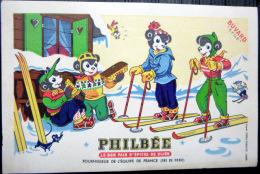 BUVARD  ANCIEN  PAIN D'EPICES  PHILBEE  DE DIJON  OURS  SKI ALPINISME  NEIGE - Biscottes