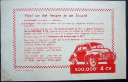 BUVARD  ANCIEN  AUTOMOBILE 4 CHEVAUX  LANCEMENT DE LA 500 000°  4 CV - Automobile