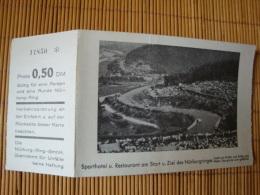 Nürburgring, Sporthotel U. Restaurant Am Start U. Ziel Mit Eintrittskarte, Ungelaufen - Ansichtskarten