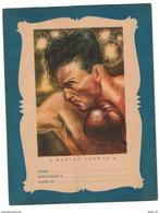 Ancien Protège Cahier Années 1950 - Thème Sport - Boxe - Illustration Marcel Cerdan - Beau Graphisme - Sports