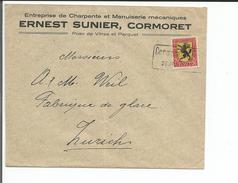Lettre Suisse Timbre 20 Ct Pro Juventute Zst N° 31, Ernest Sunier Charpentier, Cormoret CFF - Zürich (26.1.25) - Pro Juventute