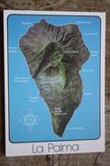 Spain. La Palma  Map - Old Postcard - Landkaarten