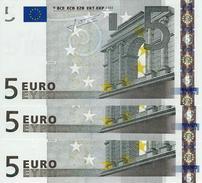 EUROPEAN MONETARY UNION 5 EURO 2002 P-8p UNC  (NETHERLANDS) CODE LETTER: E [EU101p2] 3 PCS - 5 Euro