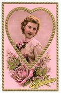 Cpa: FANTAISIE - SAINTE CATHERINE - Buste De Femme Dans Un Coeur (Gaufrée, Dorures, Roses) N° 34 - Saint-Catherine's Day