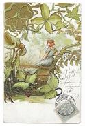 Cpa: ART NOUVEAU - Femme Assise Sur Une Barrière 1904 - Illustratori & Fotografie