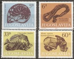 Jugoslavia 1985, Fossils, Aiuria Aturi - Pachyophis Woodwardi (snake) - Chaetodon Hoeferi -  Homo Sapiens Neanderthalens
