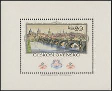 "Czechoslovakia / Stamps (1978) 2333 A: Vincenc Morstadt (1802-1875) ""Old Town"" (detail - Charles Bridge); PRAGA 1978"