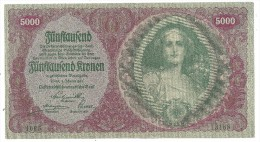 Austria 5000 Kronen 1922 XF/AUNC - Autriche
