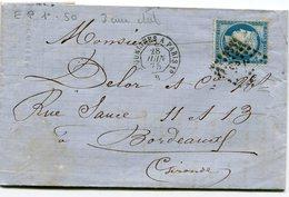 Ambulant N°162 ERQUELINES A PARIS 1°+ N°60 Oblitéré EP1° Sur LAC De 1875 - Marcophilie (Lettres)