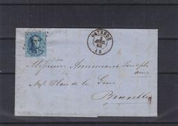 Belgique - Lettre De 1865 - Oblitération Ostende - Expédié Vers Bruxelles - 1863-1864 Medaillen (13/16)