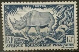 AFRICA ECUATORIAL FRANCESA 1947. Fauna - Rinocerontes. USADO - USED.. - A.E.F. (1936-1958)