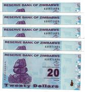 ZIMBABWE 20 DOLLARS 2009 P-95 UNC [ZW186a] 5 PCS - Zimbabwe