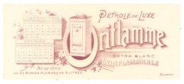 Buvard Pétrole De Luxe Oriflamme, Bidons Plombés 5 Litres, Calendrier 1905 - Buvards, Protège-cahiers Illustrés