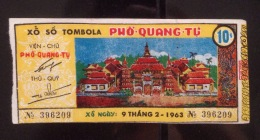 Tombola Lotterie / Lottery Of South Vietnam Viet Nam Issued By Pho Quang Pagoda 1963 / 02 Images - Lottery Tickets