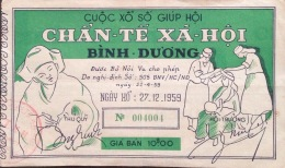 Lotterie / Lottery Of South Vietnam Viet Nam Issued By Binh Duong 1959 - RARE / 02 Images - Lottery Tickets