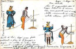 [DC3877] CPA - HUMOR - PERMETTE SIGNORE? PERMETTE SIGNORA? - Viaggiata 1902 - Old Postcard - Humor