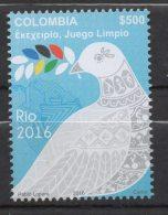 A815- KOLUMBIEN / COLOMBIA.-. NEW ISSUE 2016.-. OLYMPICS GAMES  RIO 2016. COLOMBIAN DOVE PEACE. - Estate 2016: Rio De Janeiro