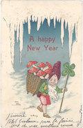 Cpa Fantaisie : A Happy New Year ( Neige, Lutin, Champignons, Gaufrée, Bonne Année ) - Anno Nuovo