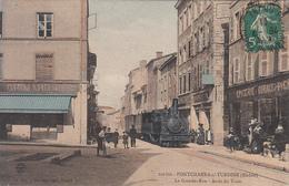 PONTCHARRA SUR TURDINE (69) La Grande Rue, Arrêt Du Train Tramway - Pontcharra-sur-Turdine