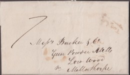 """1832 Order For Gunpowder To """"Barker & Co., Low Wood, Milnthorpe"""" From """"W Fairclough"""". 'CHORLEY' Udc & 'Too Late' - Postmark Collection"""
