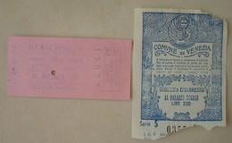 Venezia Ingresso Al Palazzo Ducale & Vaporetto. - 1962. - 2 Tickets. - Tickets D'entrée