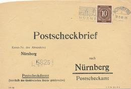 NÜRNBERG - 1948 , Postscheckbrief  Nach Nürnberg  -  Big Letter, Dispatch = 4,20 EURO (normal Mail) - American/British Zone