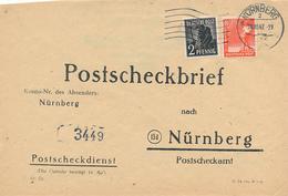 NÜRNBERG - 1947 , Postscheckbrief  Nach Nürnberg  -  Big Letter, Dispatch = 4,20 EURO (normal Mail) - Zone Anglo-Américaine