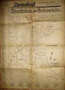 Stadtplan Schwerin 1947 - Maßstab 1:10'000 - 42cm X 60cm - Kartendienst Bruno B. Tamaro Berlin - Handschriftliche Ergänz - Topographische Karten