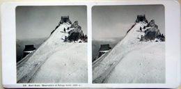 74 CHAMONIX MONT BLANC OBSERVATOIRE MER DE GLACE SOMMET GLACIER  NEUF  PHOTOS STEREOS 1900   GLACE MONTAGNE ALPINISME - Photos Stéréoscopiques