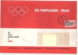"""Olympiades 1960. Six Plaquettes De Correspondance """"informations De Rome"""" Par """"Publicat"""", Timbrées """"decontractyl Baume"""" - Vieux Papiers"""
