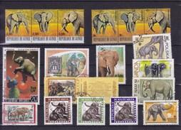 THEME : élephants : Y&T : Lot De 18 Timbres Oblitérés - Eléphants