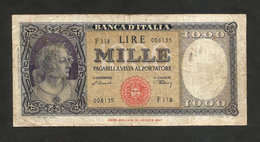 REPUBBLICA ITALIANA - 1000 Lire ITALIA (Medusa) - (Firme: Einaudi / Urbini - Decr. 20/03/1947) - [ 2] 1946-… : Repubblica