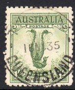 Australia 1932 Yellow-green Lyrebird 1/- Definitive, Used (SG140a) - 1913-36 George V: Heads