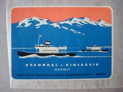 Norway. - Ferry Kvanndal Kinsarvik. - Label, étiquette. - Bateaux