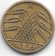 *Germany Weimar 5 Pfennig 1926 A Km 39  Vf+ - 5 Rentenpfennig & 5 Reichspfennig