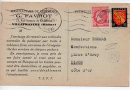 CPA.69.Villefranche Sur Sâone.1947. Manufacture De Vêtements Favrot.carte Questionnaire. - Villefranche-sur-Saone