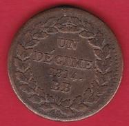 France 1 Décime - Blocus De Strasbourg 1814 BB - TTB - France