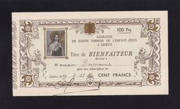 Titre De Bienfaiteur Pour Un Don En Faveur De L'édification De La Basilique De Lisieux En 1935. - Religion &  Esoterik