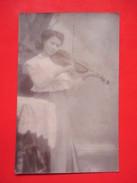Old Photo/Postcard-Girl Violin Playing-Traveld:Bataszek(Batosek) To Regocen(Ridjica) 1911. - Muziek En Musicus