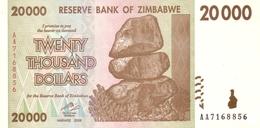 ZIMBABWE 20000 DOLLARS 2008 P-73 UNC   PLAIN PAPER [ZW164a] - Zimbabwe